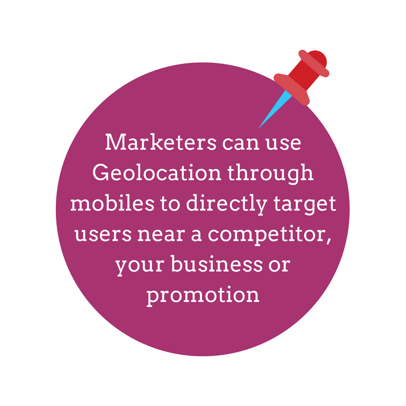Marketers can use Geolocation through mobiles to target users near a competitor, your business or promotion-1